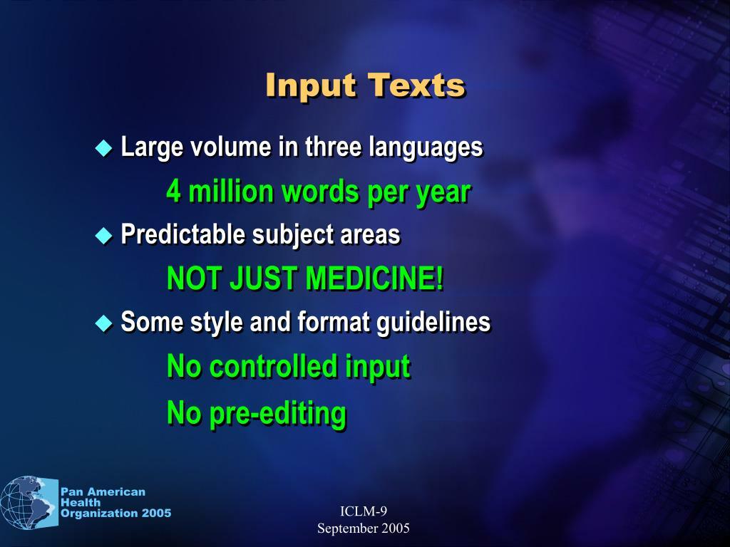 Input Texts