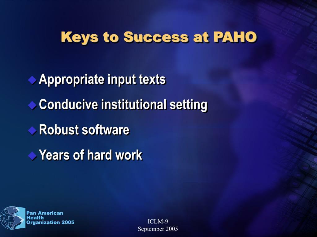 Keys to Success at PAHO