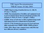 tse agent decontamination tseac issues 18 july 2003