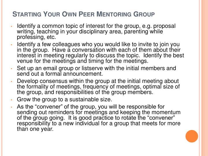 Starting Your Own Peer Mentoring Group
