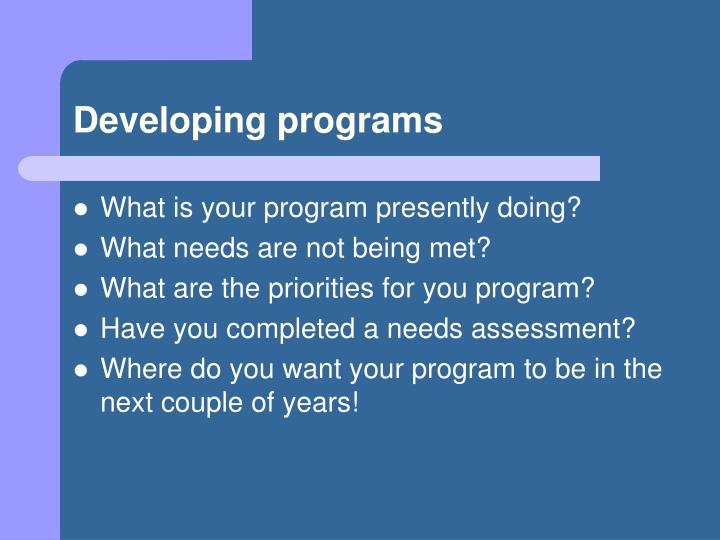 Developing programs