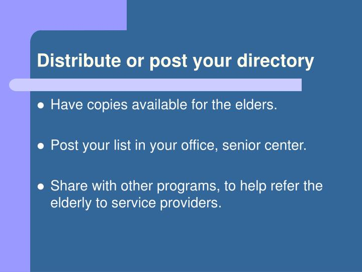 Distribute or post your directory