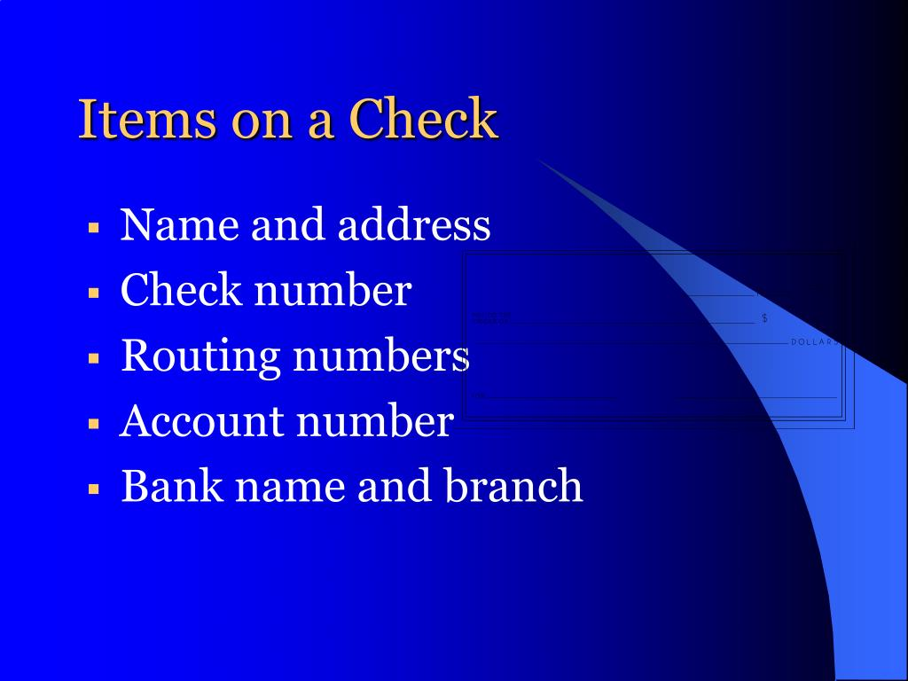 Items on a Check
