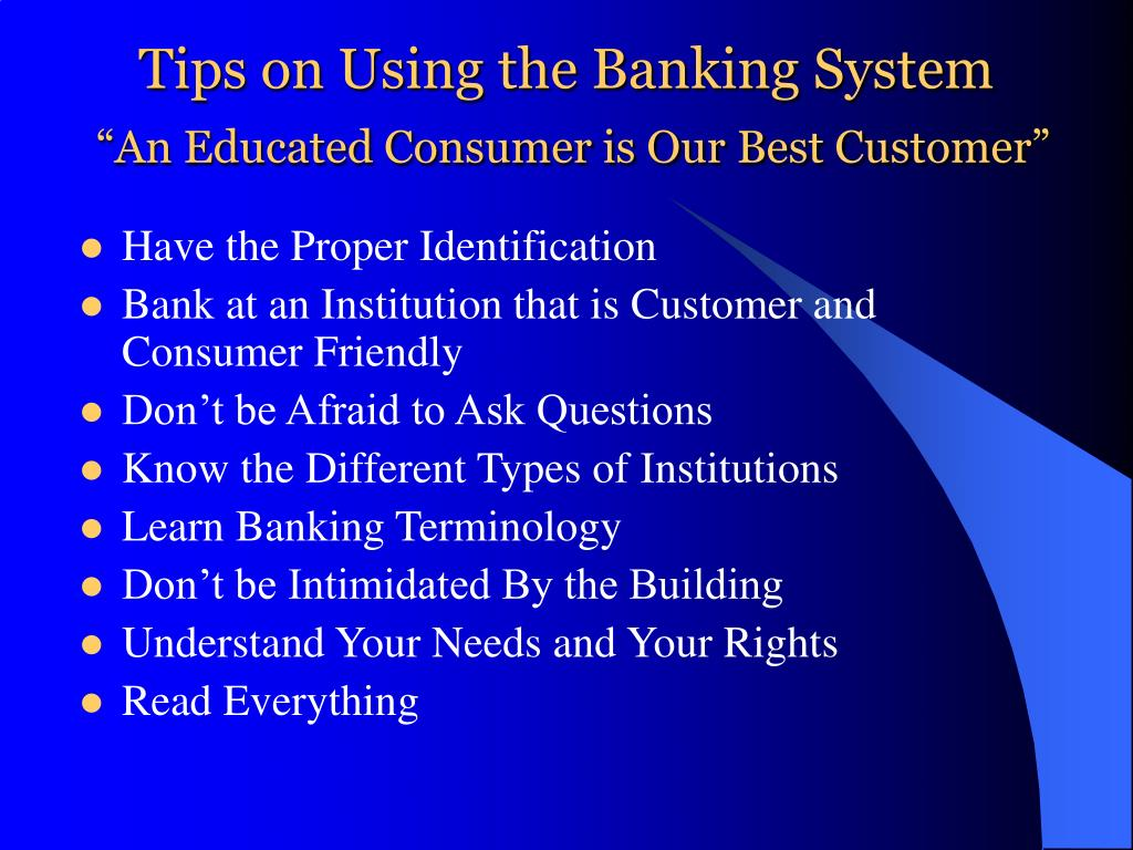 Tips on Using the Banking System