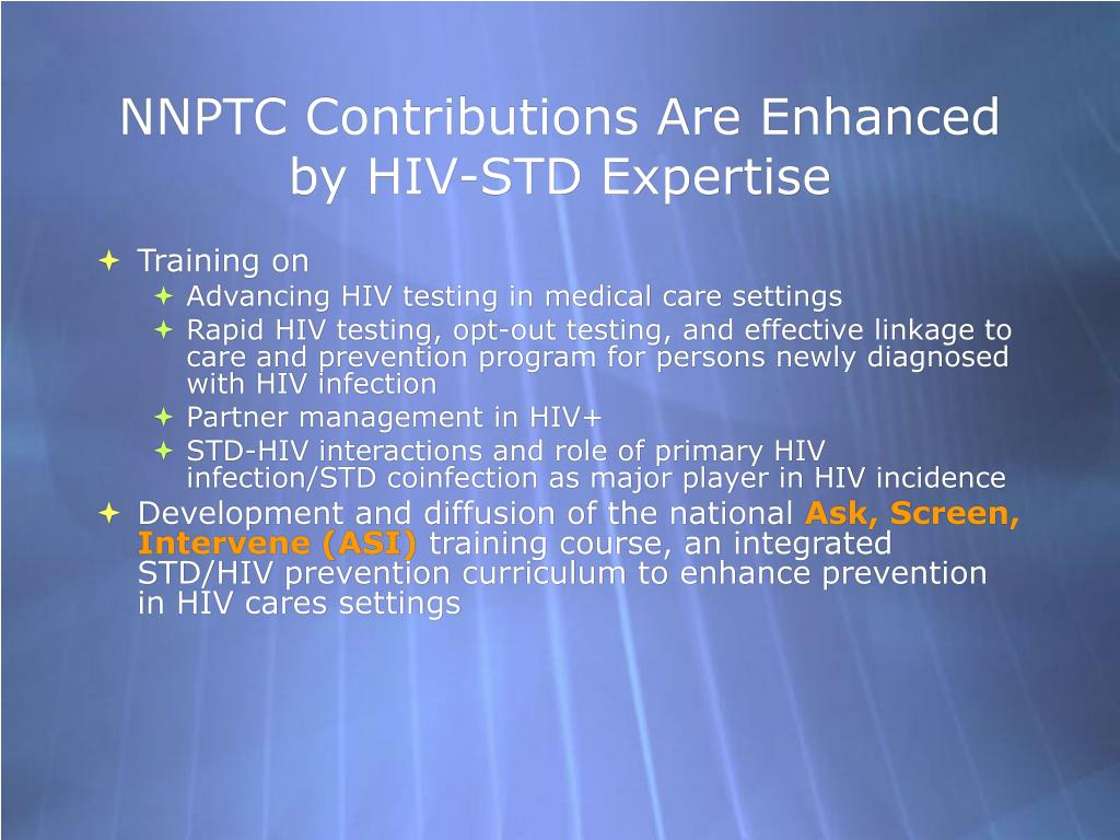 NNPTC Contributions Are Enhanced by HIV-STD Expertise