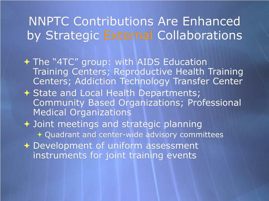 NNPTC Contributions Are Enhanced by Strategic