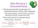 mass percent as a conversion factor