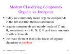 modern classifying compounds organic vs inorganic