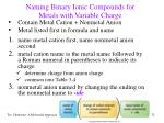 naming binary ionic compounds for metals with variable charge