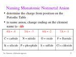 naming monatomic nonmetal anion