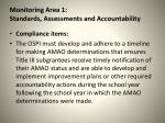 monitoring area 1 standards assessments and accountability