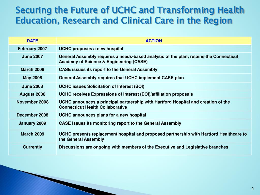 Securing the Future of UCHC and Transforming Health Education, Research and Clinical Care in the Region