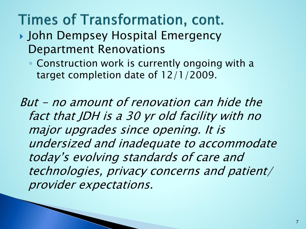 Times of Transformation, cont.
