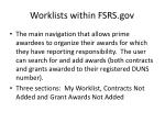 worklists within fsrs gov