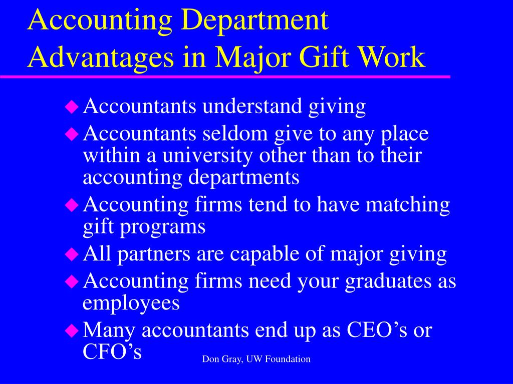 Accounting Department Advantages in Major Gift Work