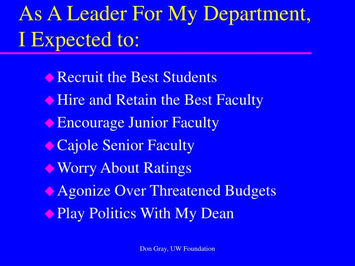 As a leader for my department i expected to
