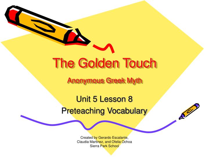 The golden touch anonymous greek myth