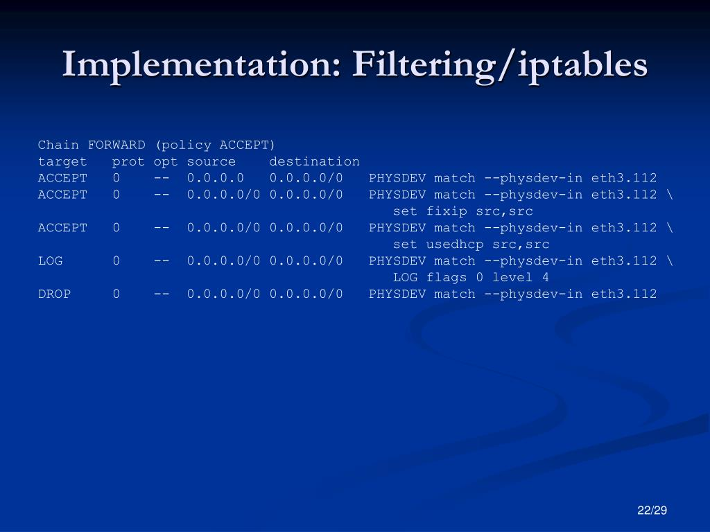 Implementation: Filtering/iptables