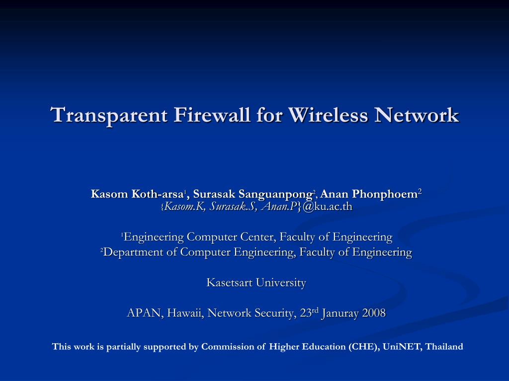 transparent firewall for wireless network l.