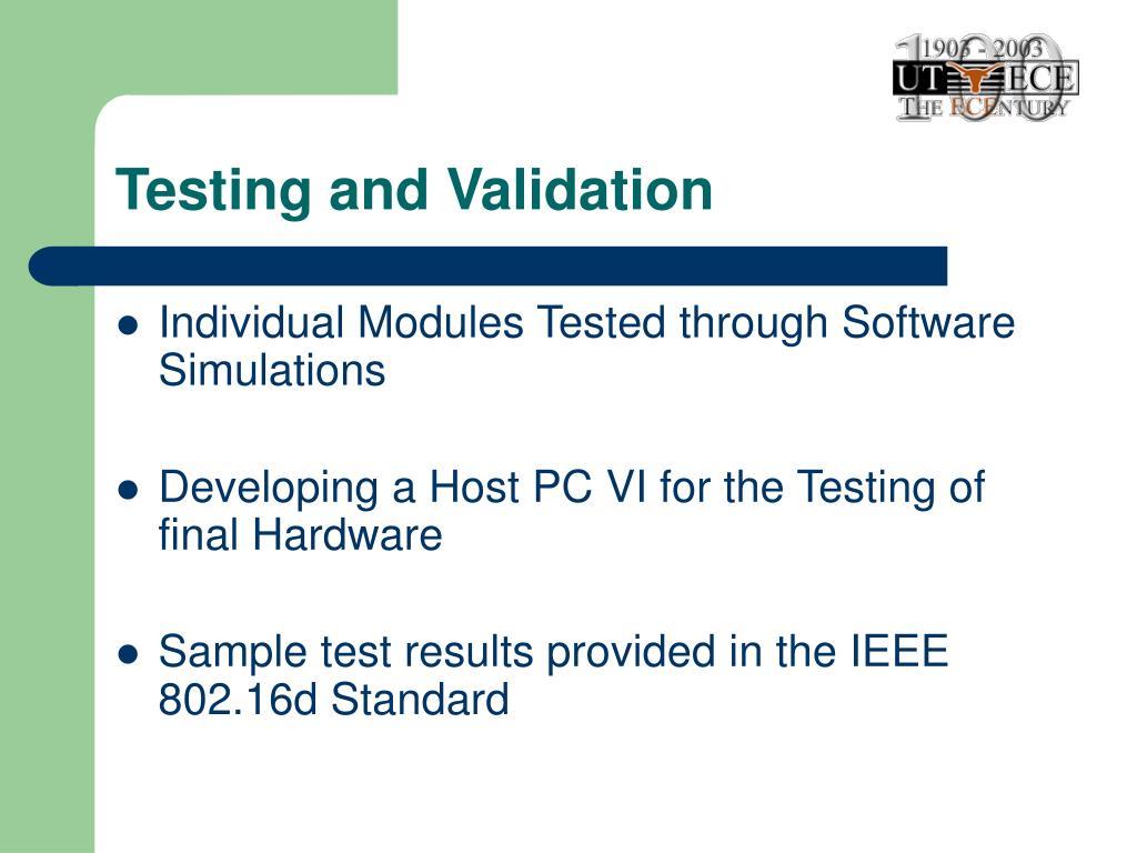 Testing and Validation