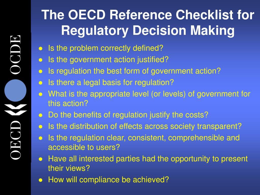 The OECD Reference Checklist for Regulatory Decision Making