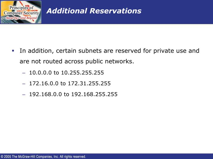 Additional Reservations