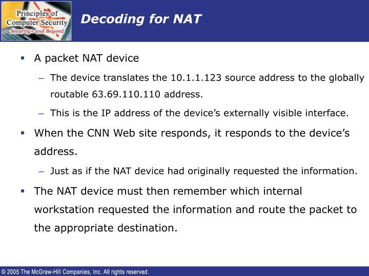 Decoding for NAT