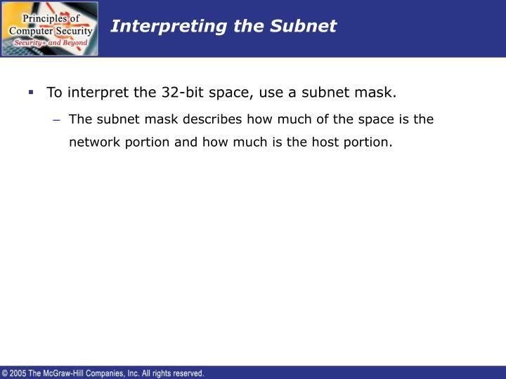 Interpreting the Subnet