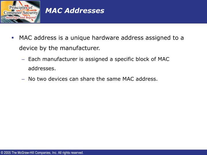 MAC Addresses