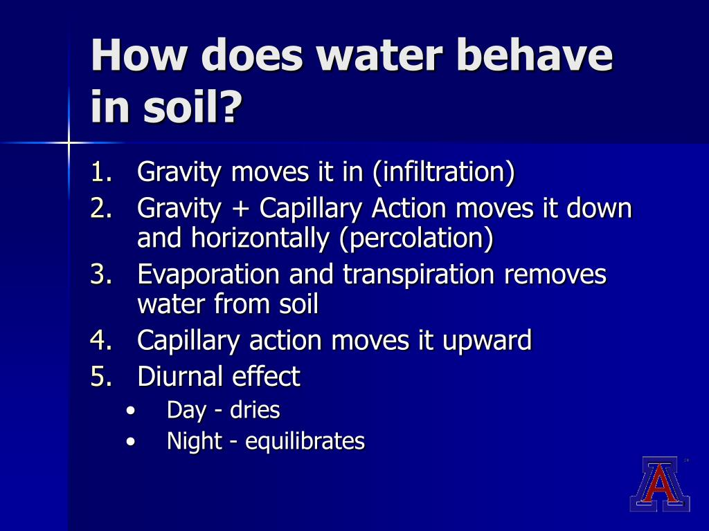 How does water behave in soil?