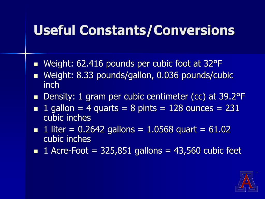 Useful Constants/Conversions