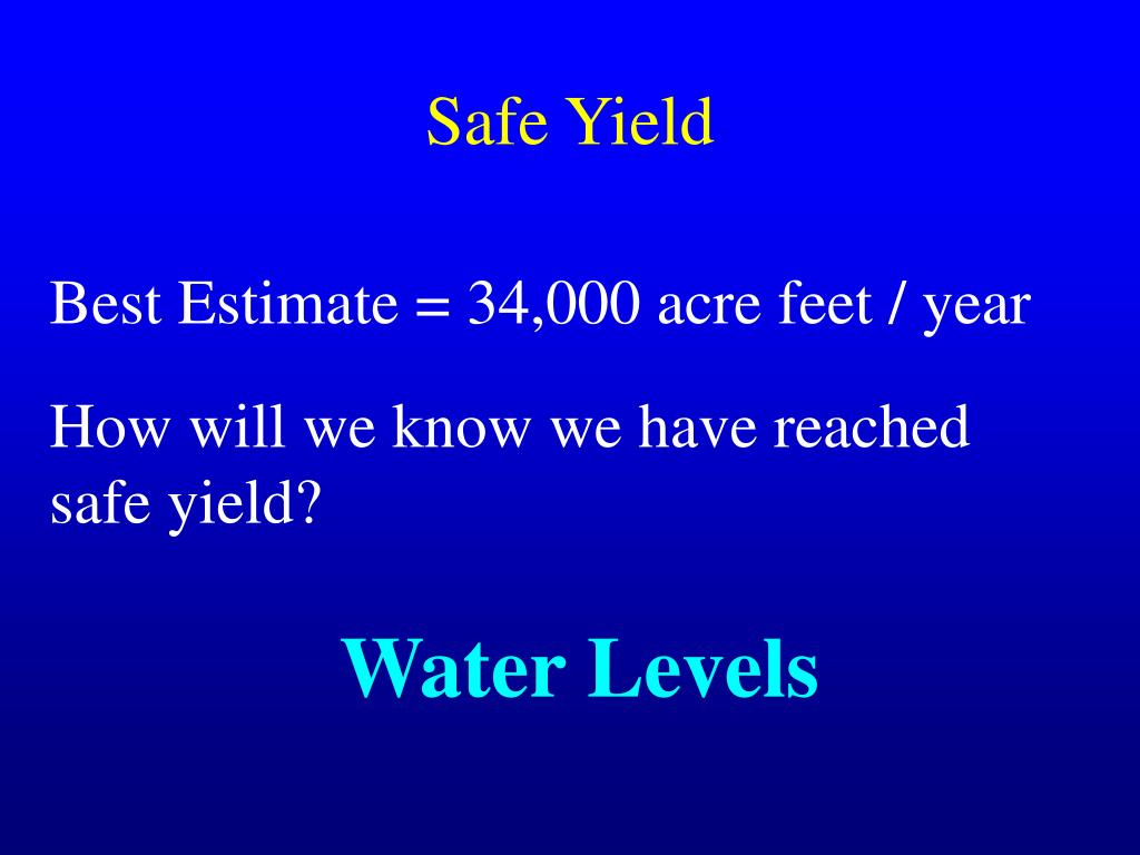 Safe Yield