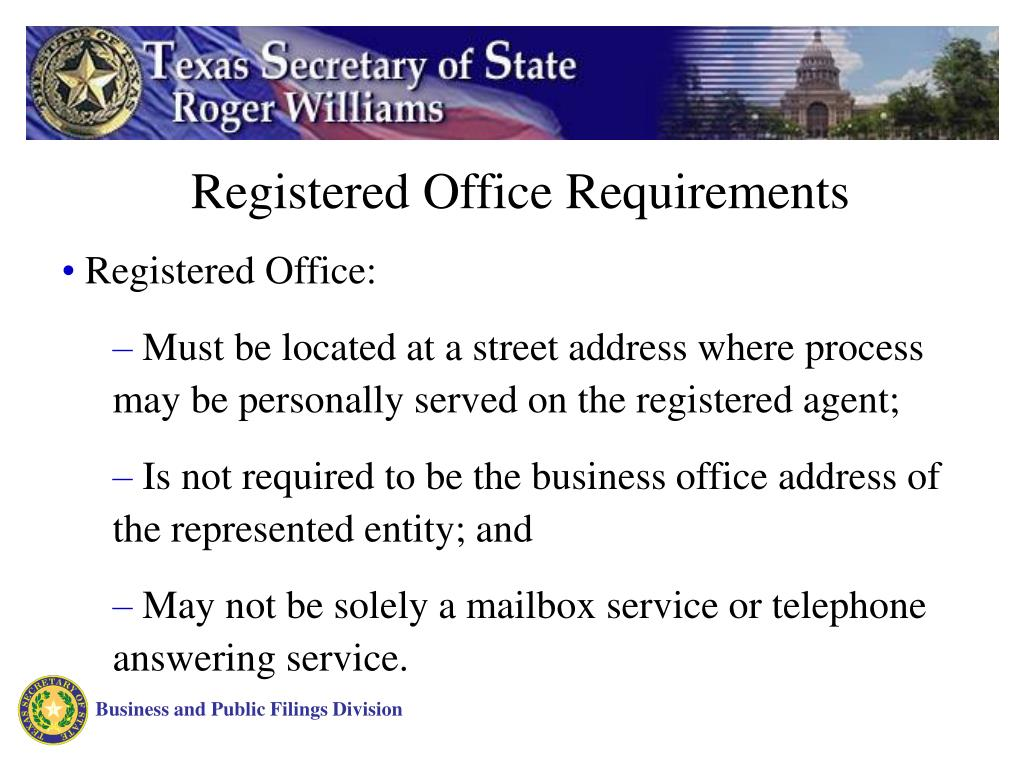 Registered Office Requirements