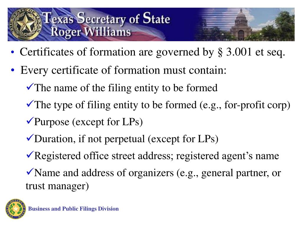 Certificates of formation are governed by § 3.001 et seq.