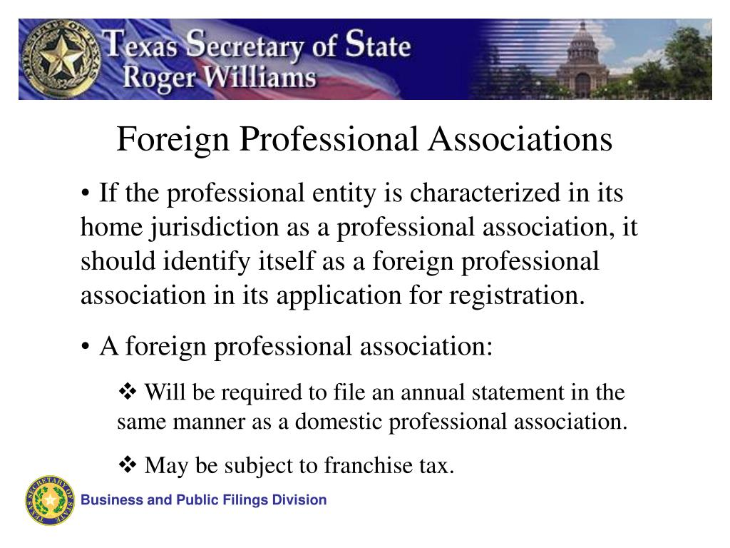 Foreign Professional Associations