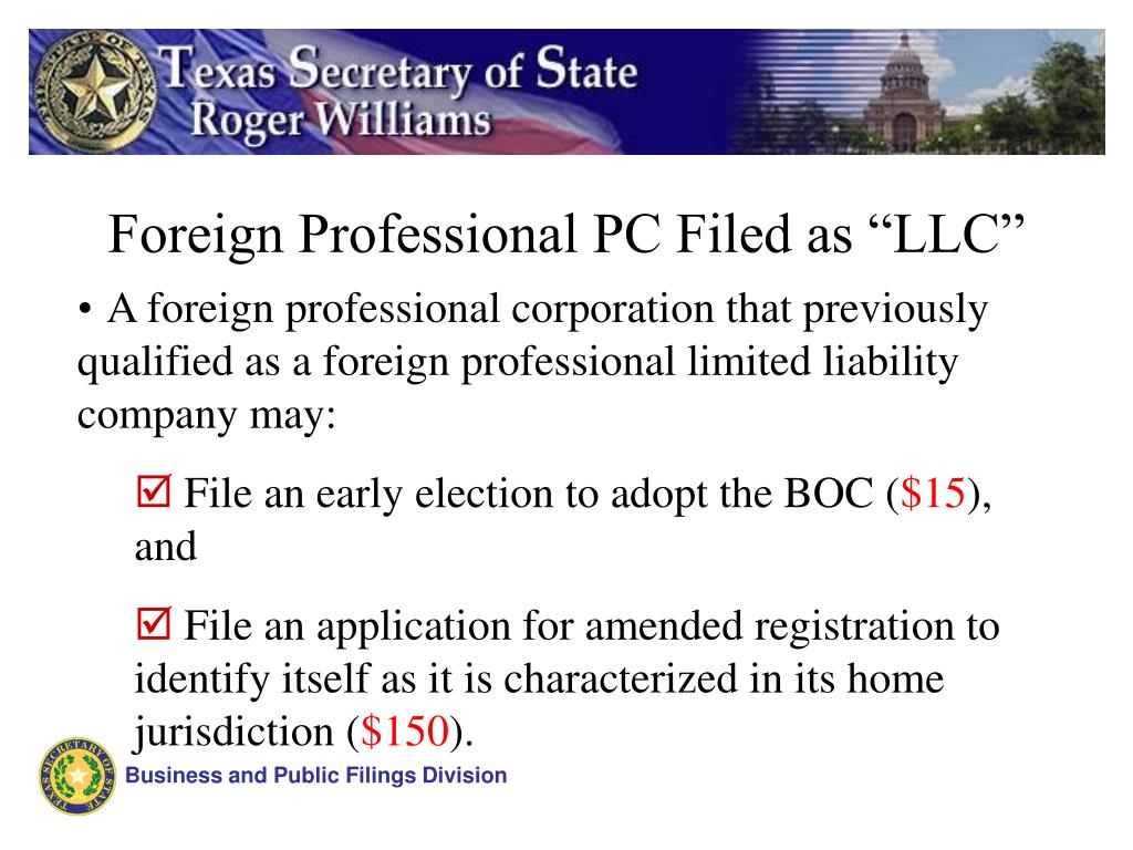 "Foreign Professional PC Filed as ""LLC"""