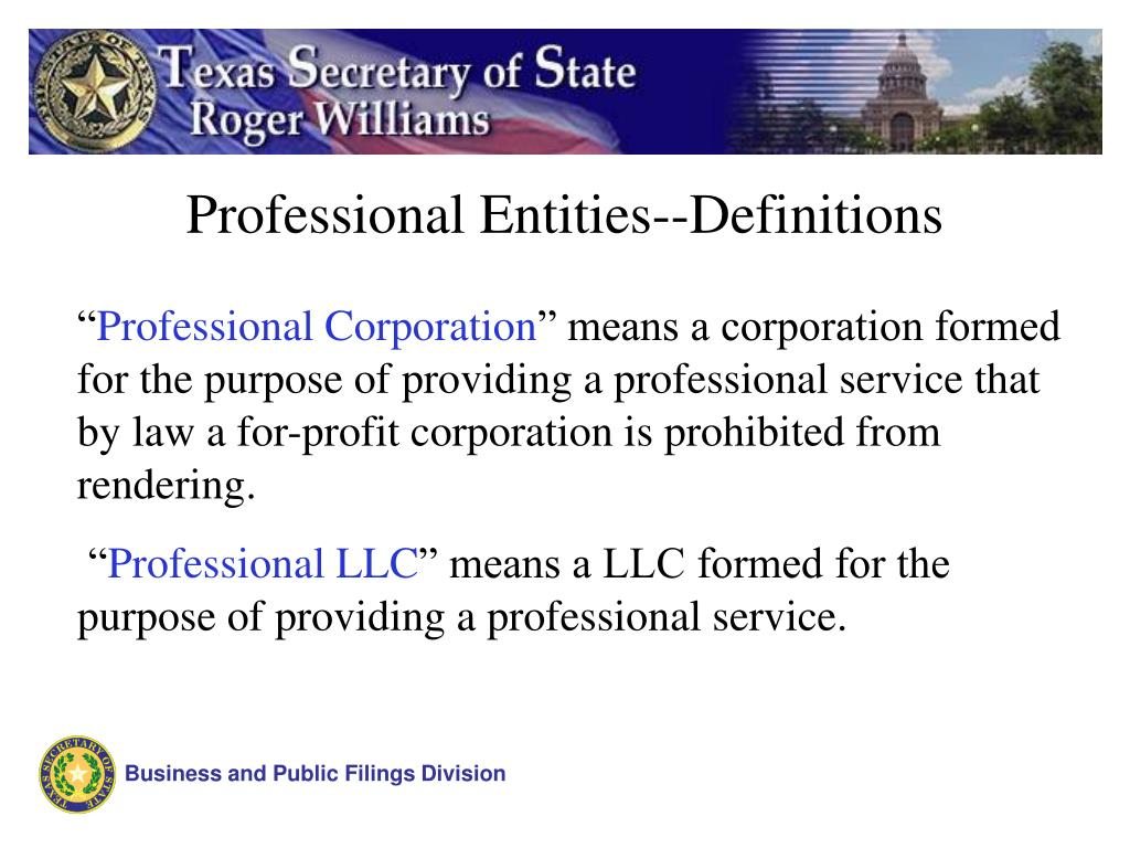Professional Entities--Definitions