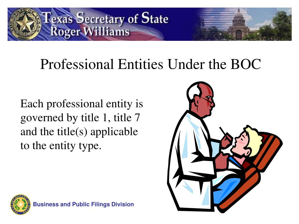 Professional Entities Under the BOC