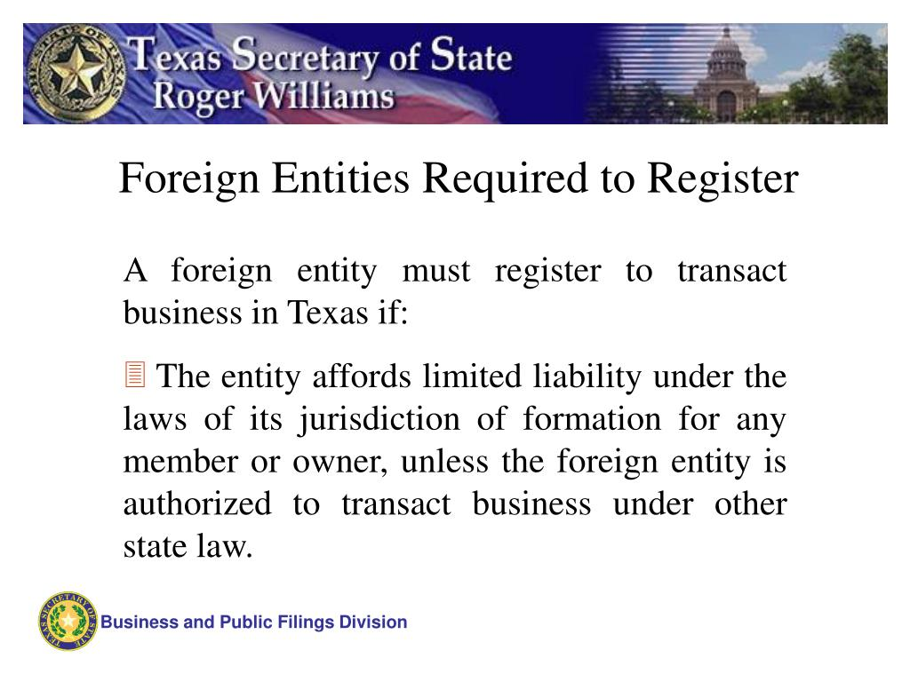 Foreign Entities Required to Register