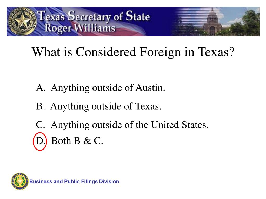 What is Considered Foreign in Texas?