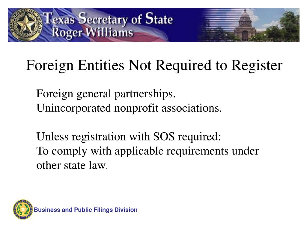 Foreign Entities Not Required to Register