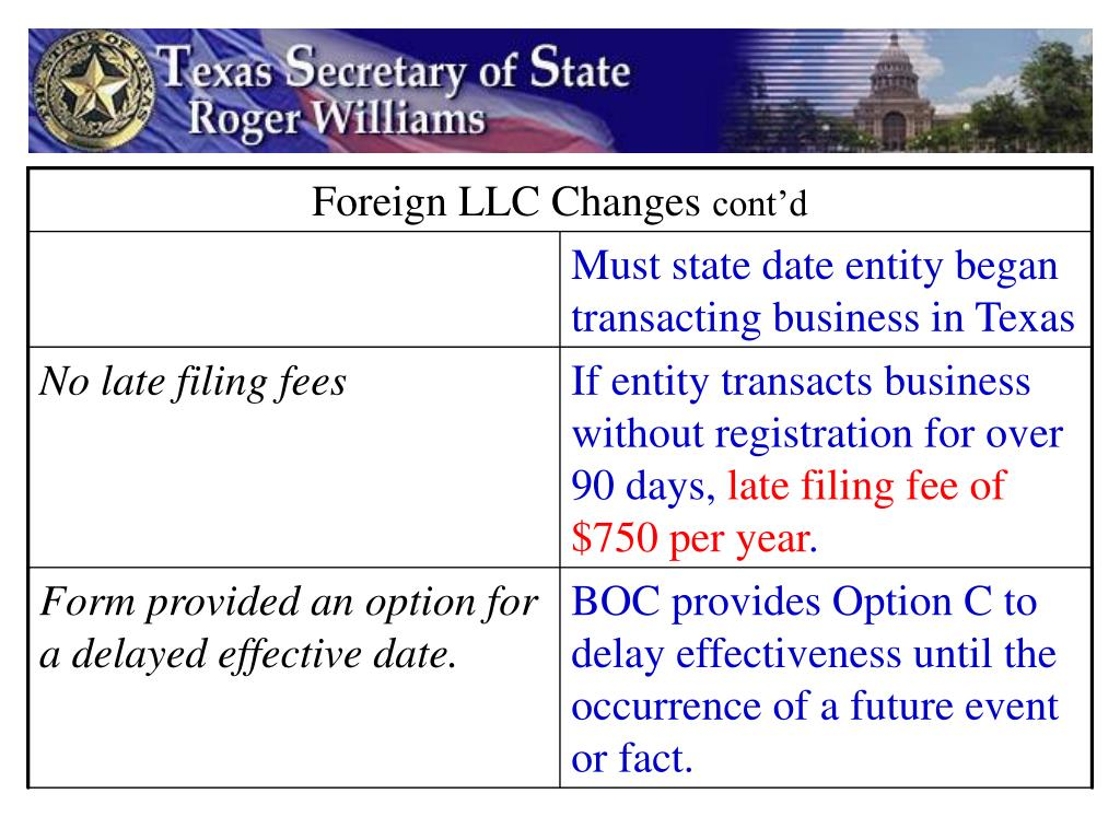 Foreign LLC Changes