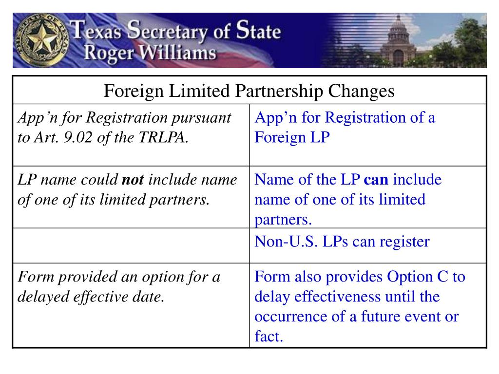 Foreign Limited Partnership Changes