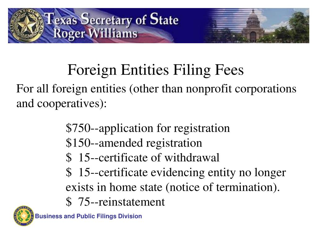 Foreign Entities Filing Fees