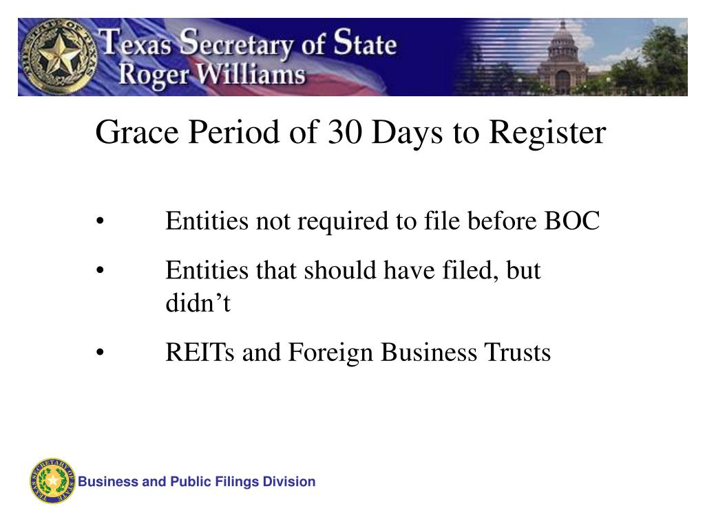 Grace Period of 30 Days to Register