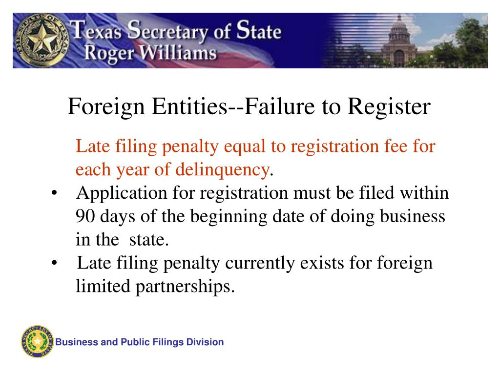 Foreign Entities--Failure to Register