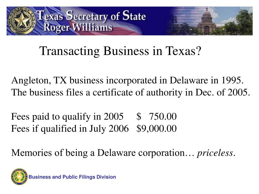 Transacting Business in Texas?