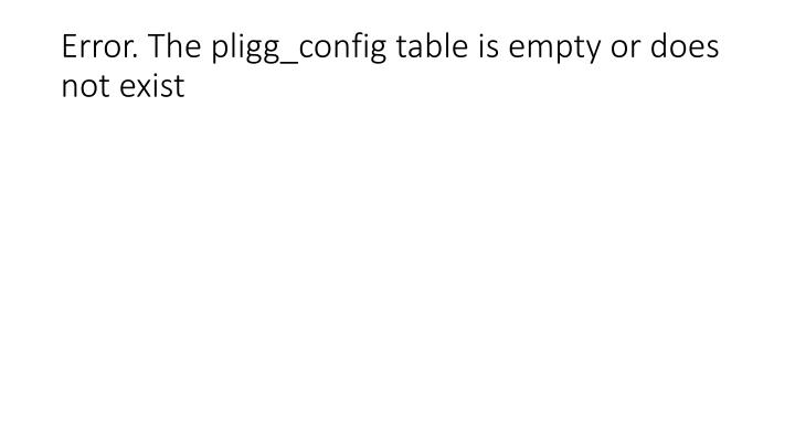 Error the pligg config table is empty or does not exist