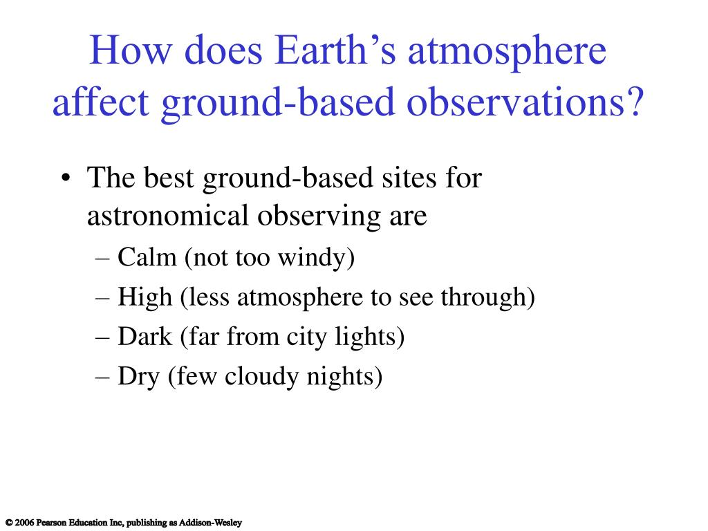 How does Earth's atmosphere affect ground-based observations?