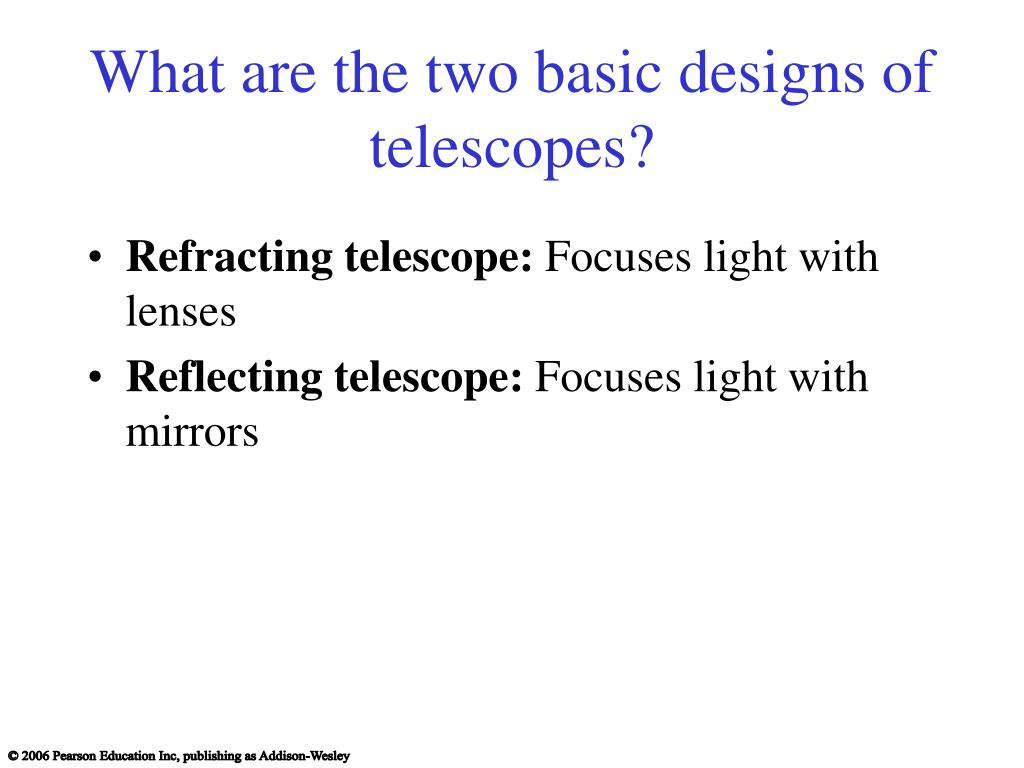 What are the two basic designs of telescopes?